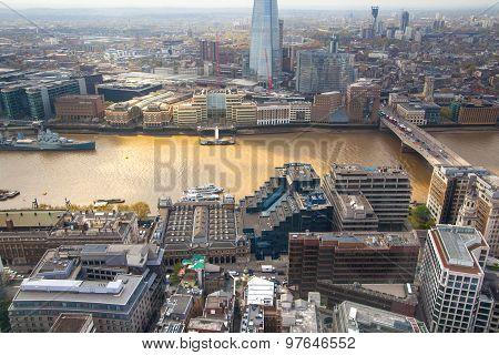 LONDON, UK - APRIL 22, 2015:  London view includes River Thames, London bridge and Shard. Panoramic
