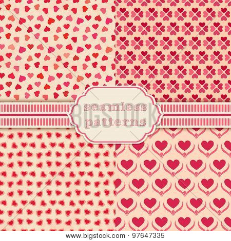 Heart shape vector seamless patterns. Cover for Valentines day background design