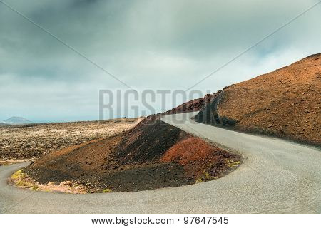 volcano and lava desert. Lanzarote, Canary islands