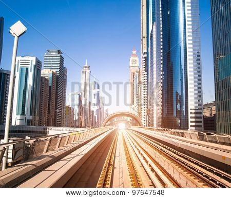 Dubai Metro. Great view of the city. UAE