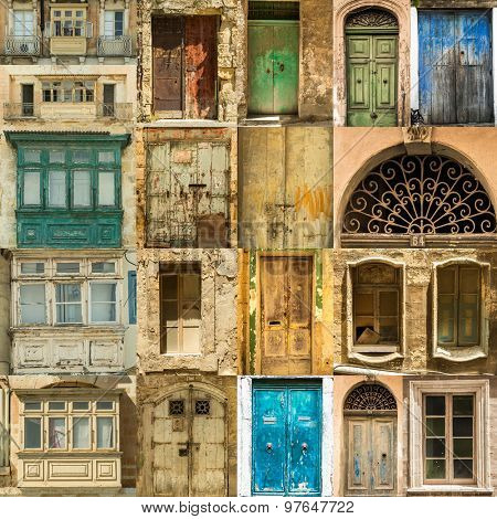 collage  photos of old windows doors and balconies on Malta