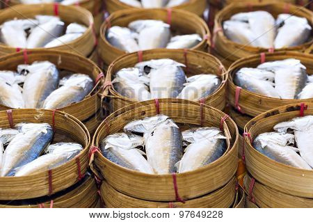 Steamed Fish, Plaa Tuu (mackerel) In Bamboo Steamers At The Seafood Market In Thailand