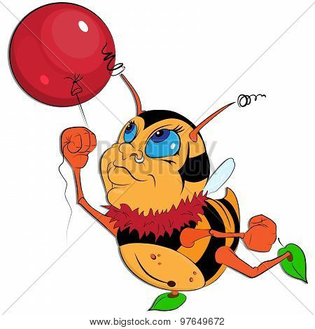 Funny Little Bumblebee withBalloonFlat