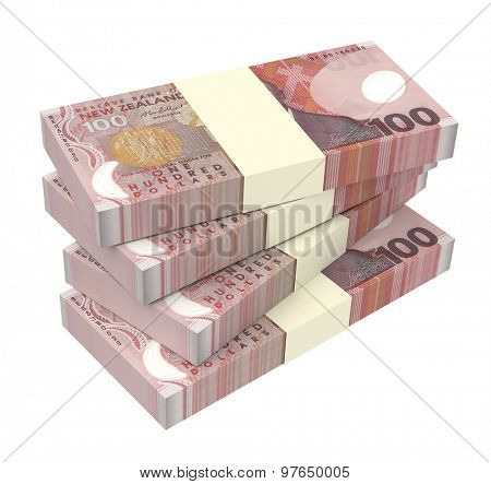 New Zealand currency isolated on white background. Computer generated 3D photo rendering.