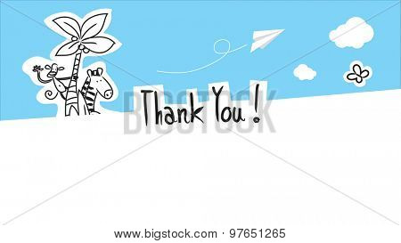 Cute animals thank you card with blank space for text insertion. Vector doodle style hand drawn illustration.