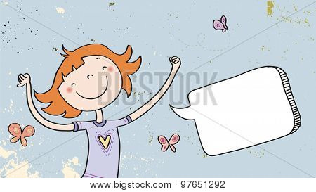 Happy Girl speaking a message, with blank speech balloon. Doodle style hand drawn illustration, vector line art. Communication concept.