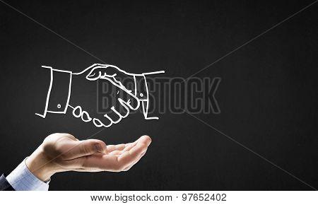 Partneship sketch handshake