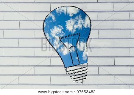 Lightbulb With Blue Sky Fill, Concept Of Clean Energy