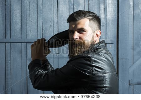 Aggressive Man With Bottle