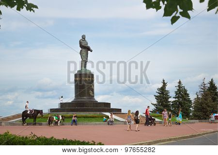 Chkalov Monument On The Main Square In Nizhny Novgorod