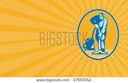 Business Card Cleaner Janitor Worker Vacuum Cleaning