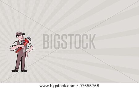 Business Card Plumber Pointing Monkey Wrench Standing Cartoon