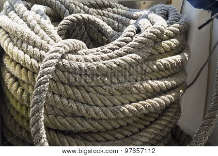 Hank Of A Rough Rope Onboard A Boat