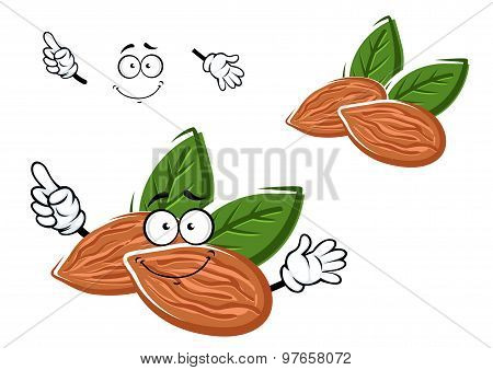Cartoon almonds nuts with leaves