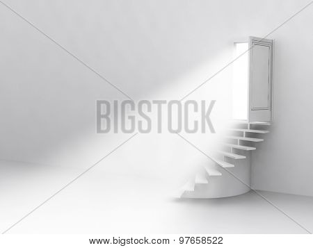 the flow of light from the open door. Staircase up. 3D