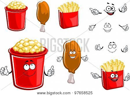 French fries, chicken leg and popcorn