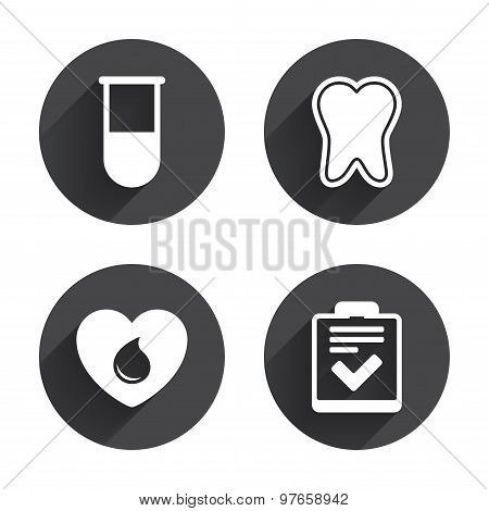 Medical icons. Tooth, test tube, blood donation.