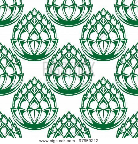 Green hop blooms seamless pattern