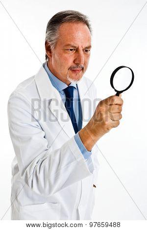 Portrait of researcher using a lens