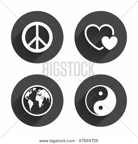 World globe icon. Ying yang sign. Hearts love.