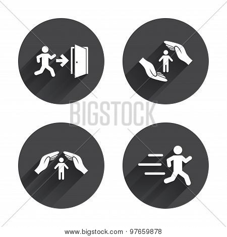 Life insurance hands protection. Human running.