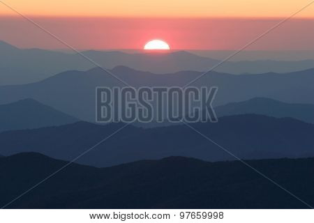 Smoky Mountain Sun Setting