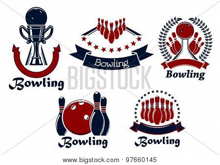Bowling game icons with balls, ninepins and trophy