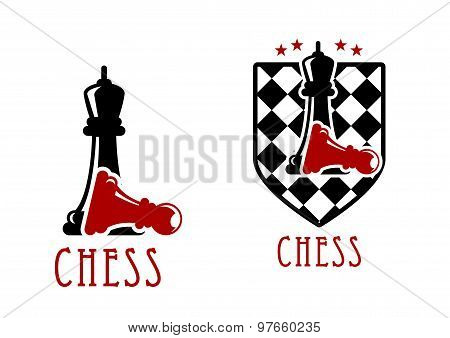 Chess icon with queens over fallen pawns
