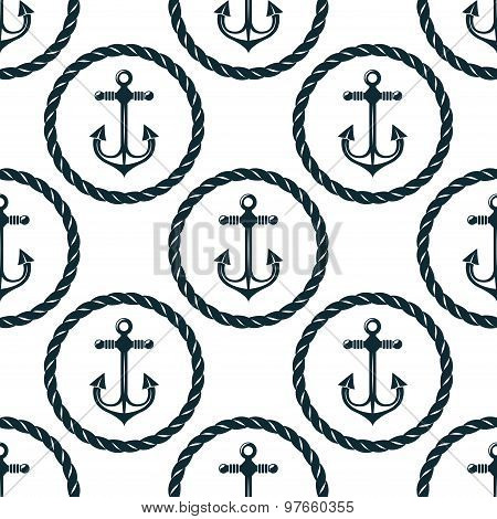 Seamless pattern of marine anchors