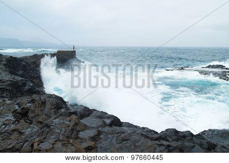 Gran Canaria, North West Coast At Banaderos Area, Basalt Rocks