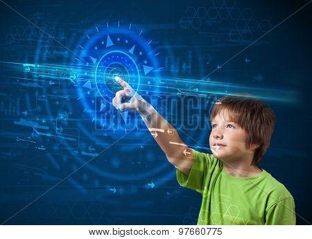 Tech boy pressing high technology control panel screen concept