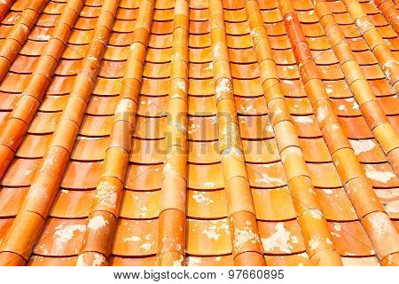 Tile Roof Of The Temple In Thailand.