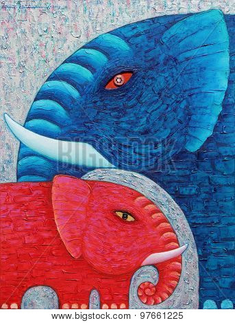 Red And Blue Elephant 1