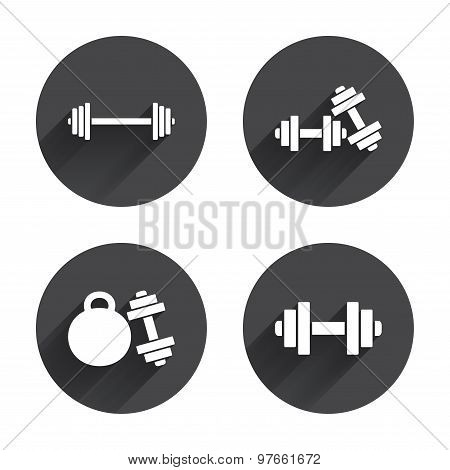 Dumbbells icons. Fitness sport symbols.