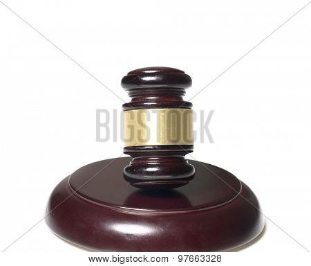 Wood Gavel on wood block isolated against white background