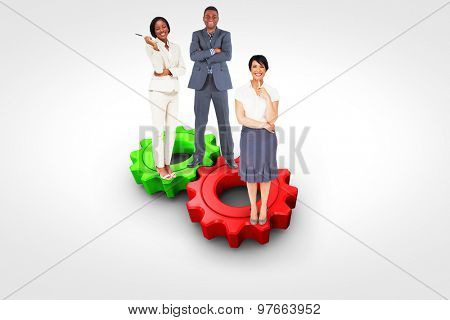 Business team against red and green cog and wheel