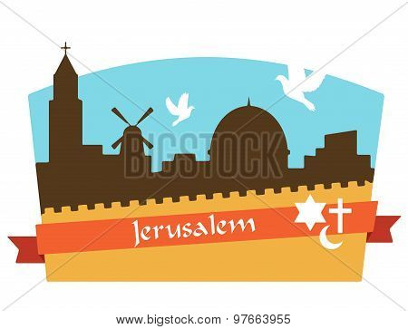 View on the landmarks of Jerusalem Old City
