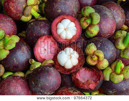 Fresh Organic Mangosteen Fruits At The Market