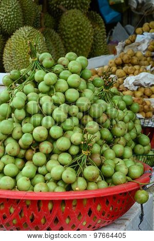 Bunch Of Burmese Grape At The Market In Mekong Delta