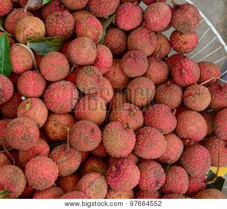 Many Lychees At A Market Stall In Mekong Delta