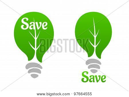 Green light bulb with leaf icon