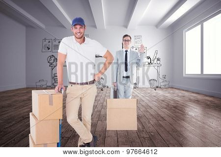 Happy delivery man leaning on trolley of boxes against doodle office in room