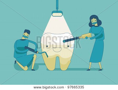 Dentist doing a dental treatment the tooth ,dental concept