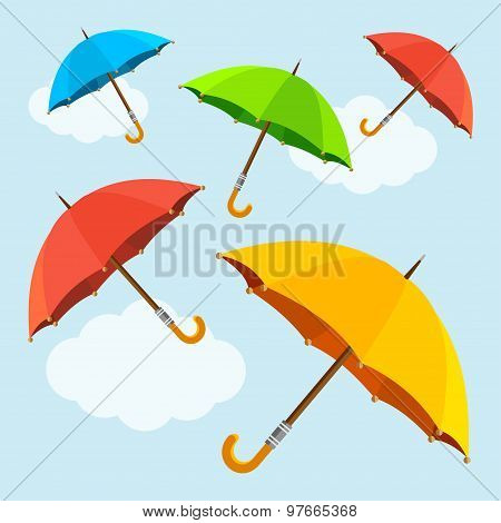 Vector colorful  fly, soaring umbrellas background. Flat design style