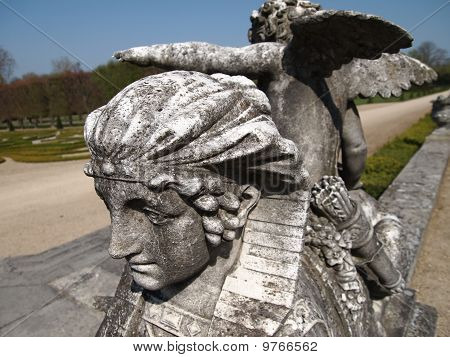 Details Of A Sculpture With An Angel On A Sphinx, Champs Sur Marne Castle, France, Panorama