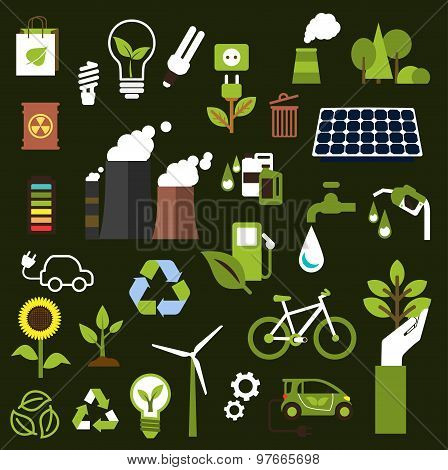 Environment and recycling flat icons
