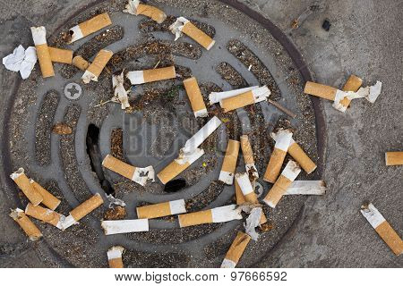 Cigarette butts littering