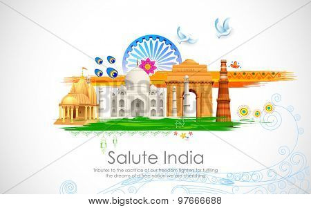 illustration of wavy Indian flag with monument