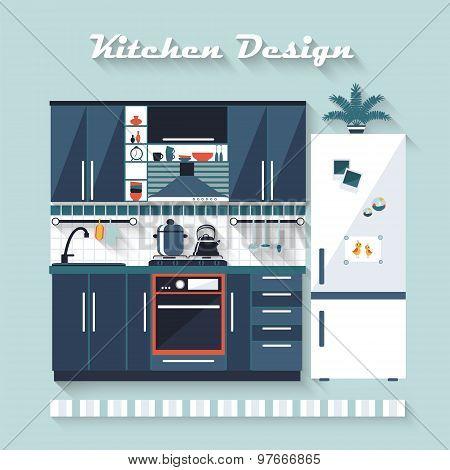 Kitchen Interior In Vector Illustration Flat Blue