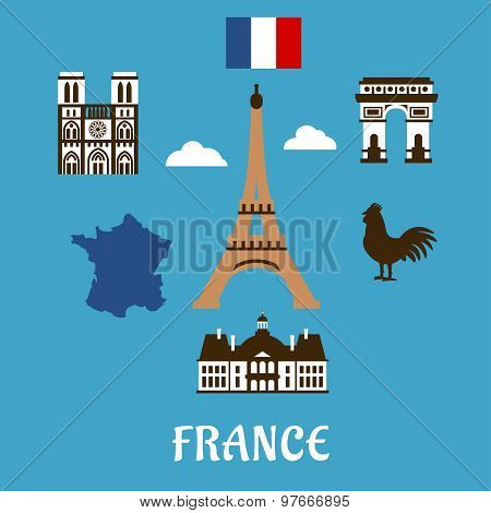 France flat travel and landmark icons